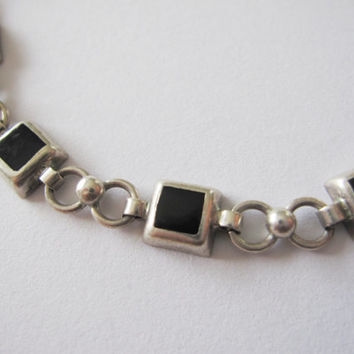Vintage Mexico 925 Sterling Silver and Onyx Geometric Square Cube Bracelet