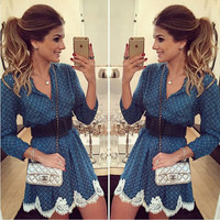2016 Trending Fashion Women Floral Printed Lace Blue Floral Printed Long Sleeve Round Necked One Piece Dress  _ 8413
