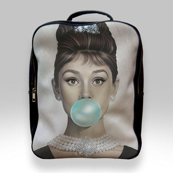 Backpack for Student - Audrey Hepburn Tiffany Blue Bubble Gum Bags