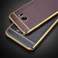 Litchi Pattern Soft Plating Silicone Cases for Samsung Galaxy S7 edge Case J5 2016 Case A3 A5 A7 2017 J3 J5 J7 Prime S6 S8 Case