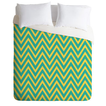 Allyson Johnson Teal Chartreuse Chevron Duvet Cover