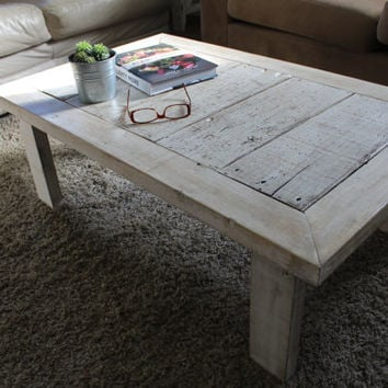 Rustic White Shabby Chic Reclaimed Wood Coffee Table