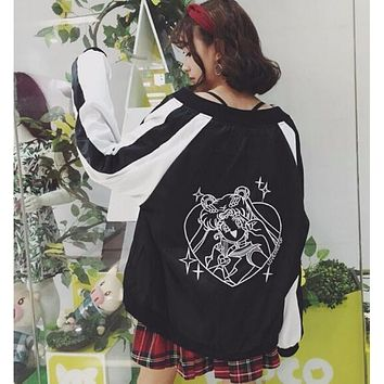 Hitz Japanese Sailor Moon embroidery spell color loose coat jacket