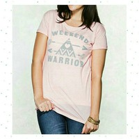 Weekend Warrior Tee Pale Pink & Gray NWT