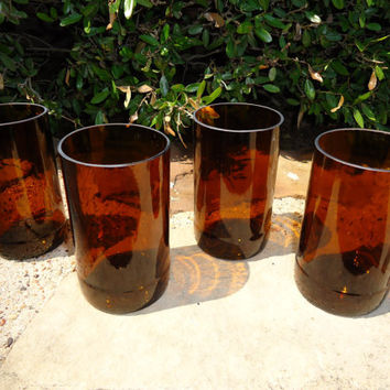 Beer Bottle Glasses made from Recycled Shiner Bock Beer Bottles in Amber Set of 4