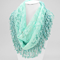 Floral Lace Infinity Spring Scarf MINT