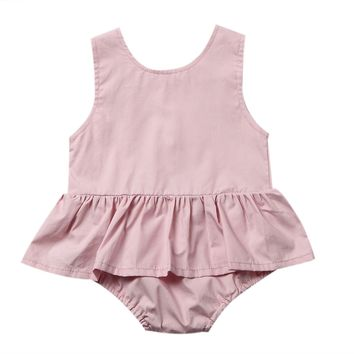 Princess Girls Romper Summer Sleeveless Back Button Tutu Skirted Jumpsuit