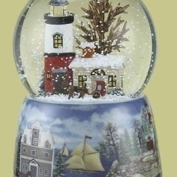 2 Musical Glitterdomes - Christmas Scene Featuring A Lighthouse