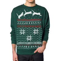 Skip N' Whistle: Snow Cats Sweatshirt Unisex Grn, at 24% off!