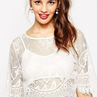 White Scallop Sheer Lace Two-Piece Top