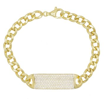 Pave ID Link Curb Chain Bracelet in 18K Gold Plated