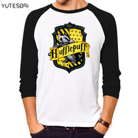t shirt men Hufflepuff / Slytherin /   Gryffindor / Ravenclaw College badge high quality cotton T-shirt for men