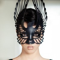 Raven leather mask in black | TomBanwell - Leather Craft on ArtFire
