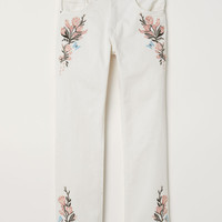 H&M Embroidered Slim-fit Pants $49.99