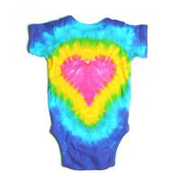 Tie Dye Baby Outfit, Pink Heart, Short Sleeve One Piece, Eco-Friendly Dyeing