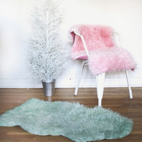 Faux Sheepskin Rug, Pet Bed, Chair Cover | Washed Out Green
