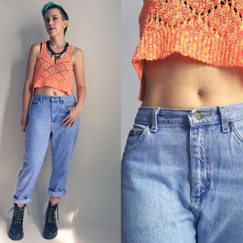 "80's clothes / 80's Riders Jeans Medium Wash Blue Jeans Denim High Rise Mom Jeans, 29"" Waist"
