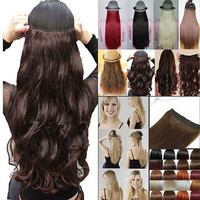 Long Wavy Curly One Piece Clip In Synthetic Hair Extensions Hair 5 Clips Popular
