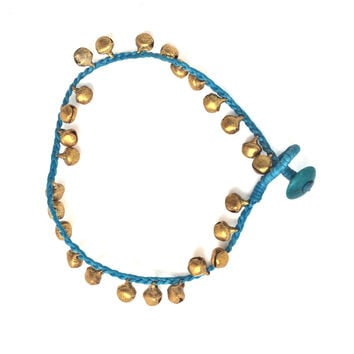 woven bell anklet turquoise