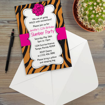 Instant Download - Tiger Orange Black Animal Print Safari Jungle Bright Pink Floral Big Cat Chic Slumber Birthday Party Invitation Template