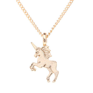 Fashion Jewelry Life Is Magical Unicorn Statement Necklace Women -03130