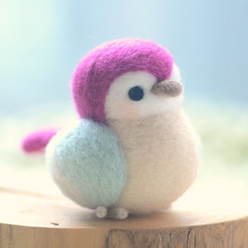 Needle felted bird doll, handmade bird figurine, Blushing bird collection - blue and purple color, home decor ornament, gift under 30