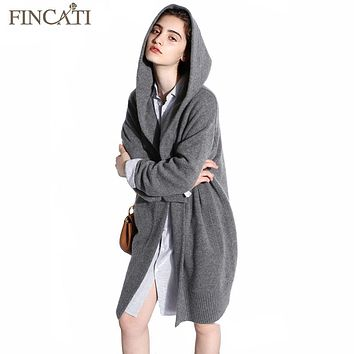 Women Cardigan 2017 High-End Spring Autumn 100% Pure Cashmere Open Stitch Hooded Cardigans Fluffy Sweater Outwear Clothing