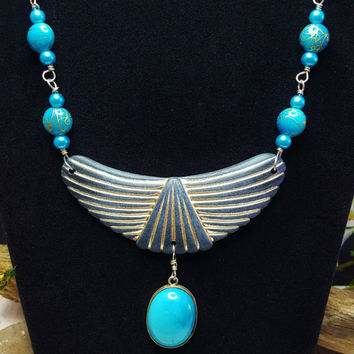 Egyptian Statement Necklace ~ Roaring 20's Bib Necklace ~ Great Gatsby Style Blue Necklace ~ Art Deco Wings Of Isis Larimar Necklace Pendant