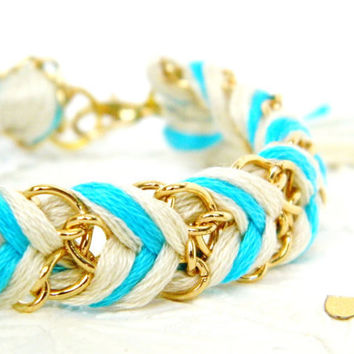Neon Capri Blue & Neutral - Chevron Braided Modern Friendship Bracelet - Gold Chain