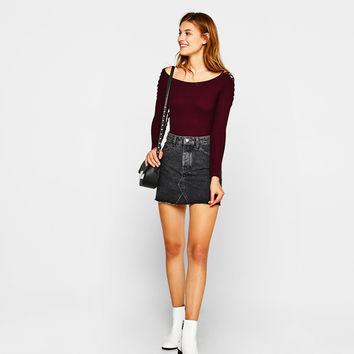 Bodysuit with lace-up sleeve detail - Bodysuits - Bershka United States