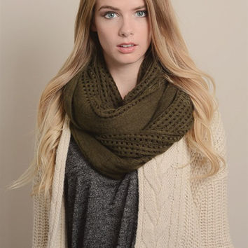 Open Grid Infinity Scarf-Olive