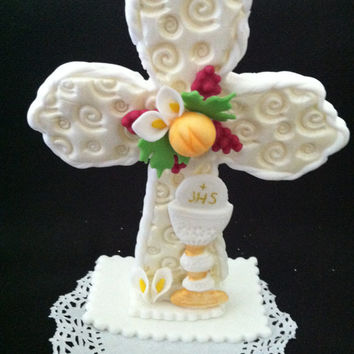 First Communion Cake Topper, Baptism Cake Topper, Communion Cross with Chalice, First Communion Decoration, Baptism Favor, Communion Chalice