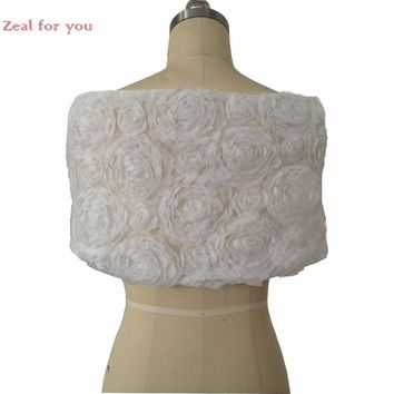 Real Picture Ivory Wedding Boleros Lace Floral with Sash Bridal Wraps Jackets Party Shawl Free Shipping