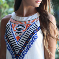 Aztec Warrior Ivory Shift Dress