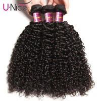 UNICE HAIR Malaysian Curly Weave Human Hair 1/3/4 Piece Remy Hair Bundles 100% Natural Color Hair Weaving Free Shipping 8-26inch