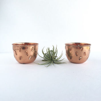 Set of 2 Vintage Copper Cut Out Candle Holders