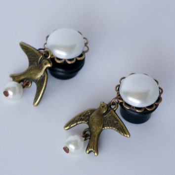 00g 0g 2g 4g Pearl Dangle Plugs Gauges