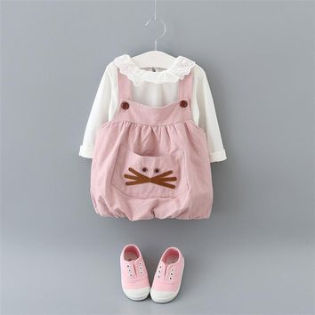 Girl babys of cute Princess Cotton Cartoon Set Babys girl in winter and Autumn for newborn clothes dress in 2016 children