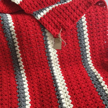 Home Decor, blanket, throw, Red, Grey,And White Chunky Crochet Afghan