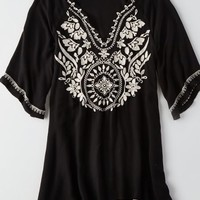 AEO Women's Embroidered Bell Sleeve Dress