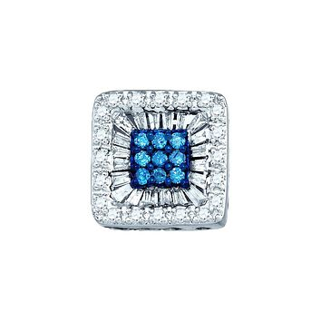 10kt White Gold Womens Round Blue Colored Diamond Square Stud Earrings 1/2 Cttw