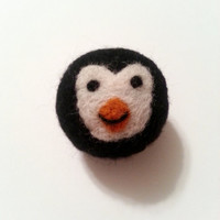 Catnip Ball NeedleFelted Wool - Happy Penguin - Made to order
