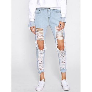 Extreme Distressing Ripped Knees Jeans