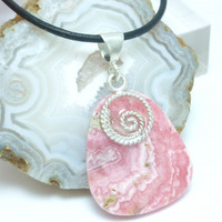Pink Rhodocrosite Natural Gemstone Sterling Pendant Black Leather Cord
