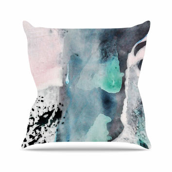 "Iris Lehnhardt ""Abstract Color"" Pastel Painting Outdoor Throw Pillow"