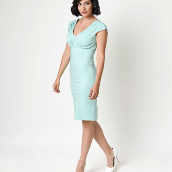 Unique Vintage 1950s Style Mint Green Bettie Fitted Pencil Dress