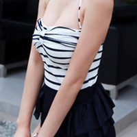 One Piece Black and White Retro Swimsuit