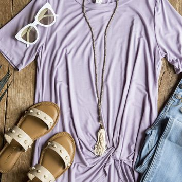 Malay Bamboo Fabric Knotted Top, Lilac