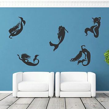 kik1111 Wall Decal Sticker set mermaid siren sea nymph naiad living room bedroom