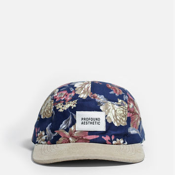 Navy Floral Nature Five Panel Hat w/ Suede Brim